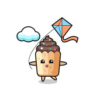 L'illustrazione della mascotte del cupcake sta giocando con l'aquilone, design carino