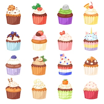 Muffin cupcake e dessert torta dolce con frutti di bosco o caramelle cotte illustrazione set di pasticceria con panna e dolci in panetteria per la festa di compleanno su sfondo bianco