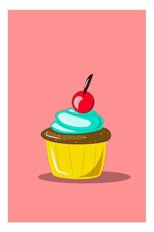 Un cupcake sormontato da un'illustrazione vettoriale di litchi