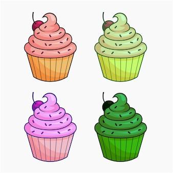 Cupcake, vettore, illustrazione, cartone animato, clipart