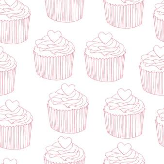 Reticolo di vettore del bigné con granelli di coriandoli. fondo senza cuciture di cupcakes carini disegnati a mano per feste, compleanni, biglietti di auguri, carta da regalo.