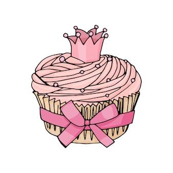 Cupcake con corona e fiocco rosa su sfondo bianco