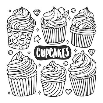 Disegni da colorare doodle disegnati a mano icone cupcakes
