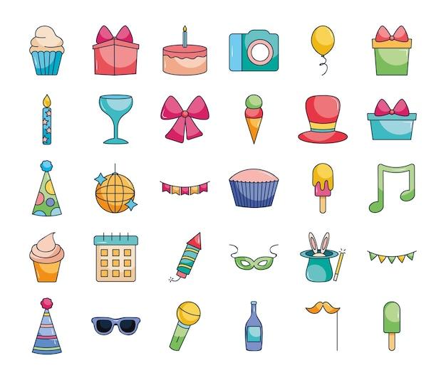 Cupcakes e icone di partito impostate su sfondo bianco