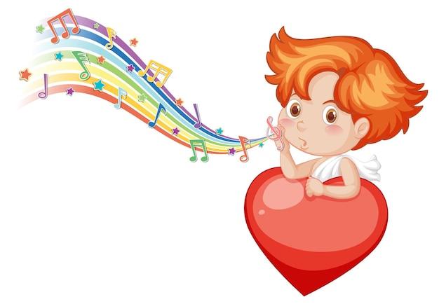 Carattere di angelo cupido con simboli di melodia sull'arcobaleno
