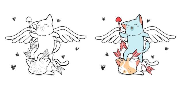 Pagina da colorare di cupido gatto del fumetto