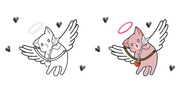 Pagina da colorare di cupido gatto personaggio dei cartoni animati Vettore Premium