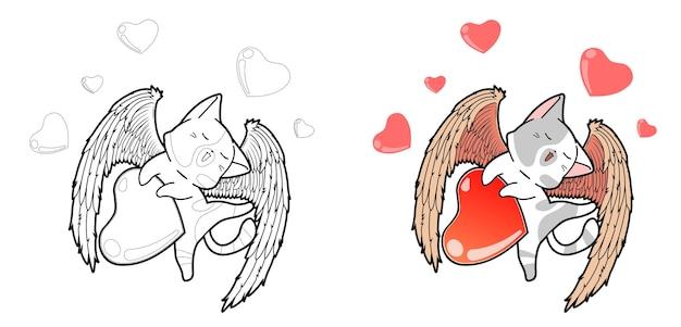 Personaggio del gatto cupido con la pagina da colorare dei cartoni animati di cuori