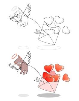 Il gatto cupido sta sollevando l'amore della pagina da colorare dei cartoni animati di lettera