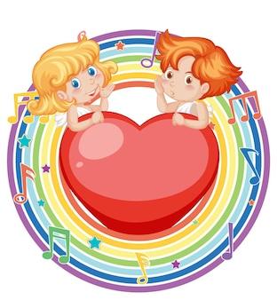 Coppia cupido in cornice rotonda arcobaleno con simbolo melodia