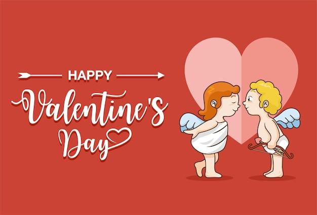 Ragazza cupido e ragazzo cupido con testo felice san valentino