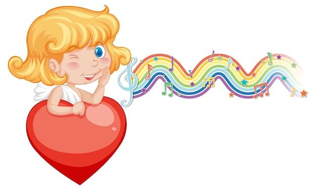 Cupido ragazza che tiene il cuore con i simboli della melodia sull'onda arcobaleno
