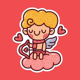 Cupido tenendo l'arco mentre è seduto sul cloud doodle. può essere utilizzato per adesivi, t-shirt, ecc