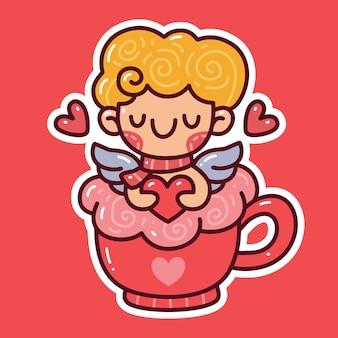 Cupido che tiene il focolare sulla tazza doodle. può essere utilizzato per adesivi, t-shirt, ecc