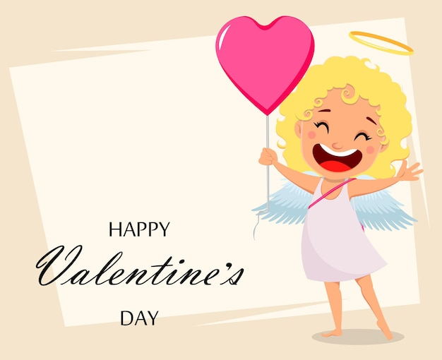 Cupido tiene grande palloncino rosa a forma di cuore illustrazione