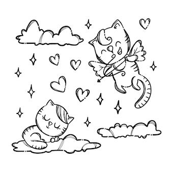 Cupido spara a un gattino che scivola sulla nuvola. fumetto disegnato a mano di festa di san valentino monocromatico
