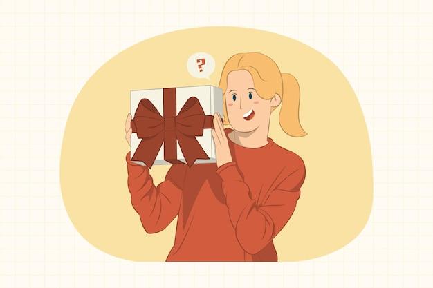 Curiosa giovane donna che tiene la casella attuale con il concetto di fiocco di nastro regalo Vettore Premium