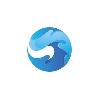 Logo della spruzzata dell'acqua dell'onda del ricciolo