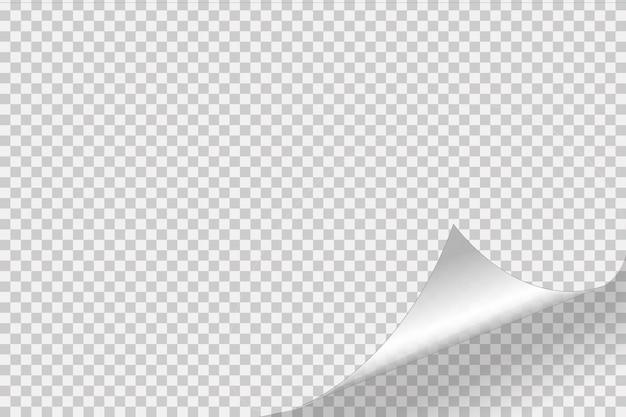 Angolo arricciato di carta su sfondo trasparente con ombre morbide, pagina di carta realistica mock up.