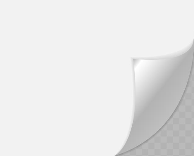 Angolo arricciato di carta su sfondo trasparente con ombre morbide, pagina di carta realistica.