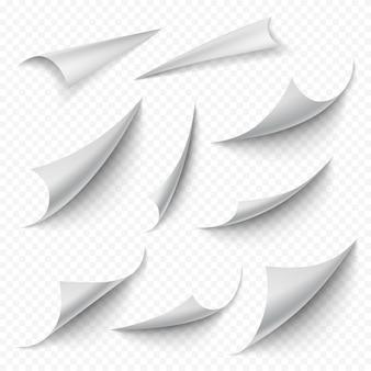 Angoli arricciati. le pagine curve vuote del libro vuoto si piegano che si sbucciano la raccolta realistica dei bordi del foglio. trasforma la pagina bianca in bianco, piega il foglio vuoto