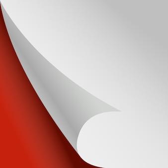 Pagina arricciata. sfondo rosso angolo di carta bianca.