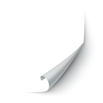 Angolo di carta arricciato isolato su bianco