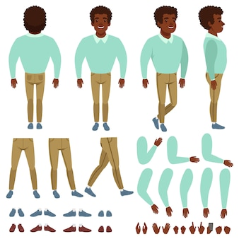Costruttore uomo di colore dai capelli ricci. creazione del fumetto impostata con varie viste anteriore, laterale, posteriore. parti del corpo, diversi gesti delle mani, collezione di scarpe. vettore piatto isolato