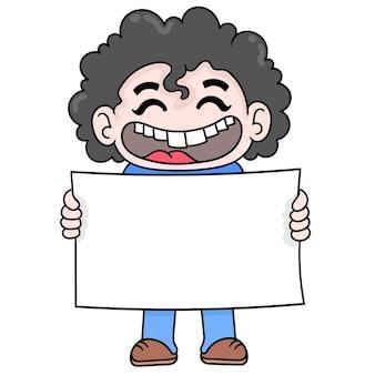 Ragazzo dai capelli riccio che ride felicemente facendo modello di carta bianca, arte illustrazione vettoriale. scarabocchiare icona immagine kawaii.