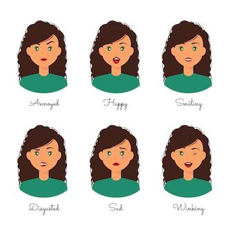 Raccolta di espressioni del fumetto di emozioni della donna dell'acconciatura riccia