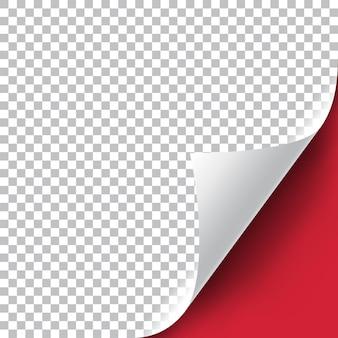 Illustrazione realistica dell'angolo della pagina riccia con ombra trasparente. pronto per essere applicato al tuo design. elemento grafico per documenti, modelli, poster, volantini. illustrazione vettoriale