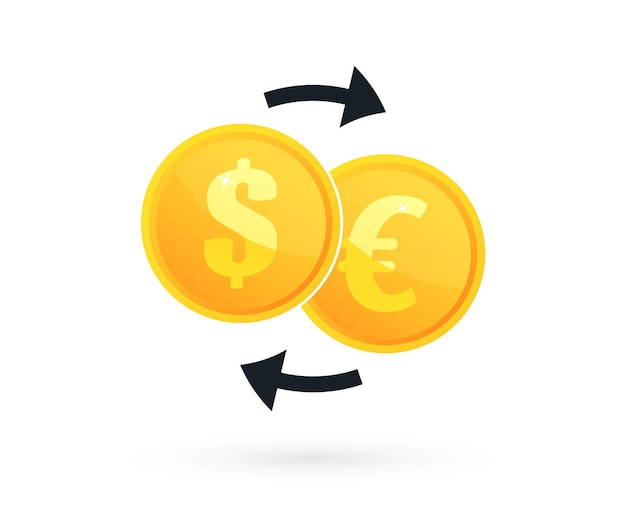 Cambio di valuta. moneta con dollaro, simbolo dell'euro e frecce. scambio di denaro in uno stile piatto. illustrazione vettoriale