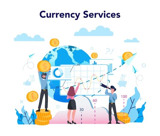 Concetto di servizio di cambio valuta. cambio di valuta mondiale