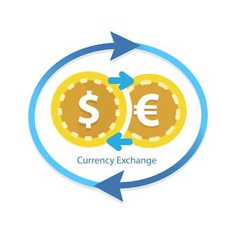 Servizio di cambio valuta. mercato di criptovaluta per lo scambio.
