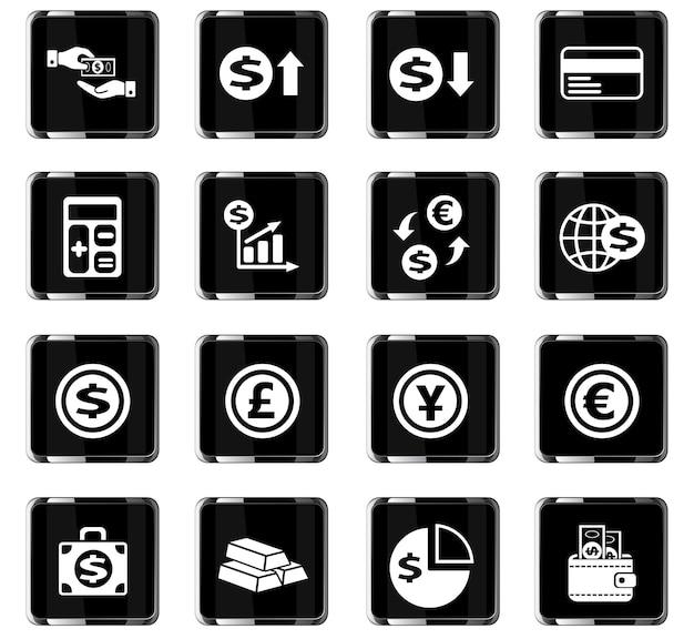 Icone web di cambio valuta per la progettazione dell'interfaccia utente