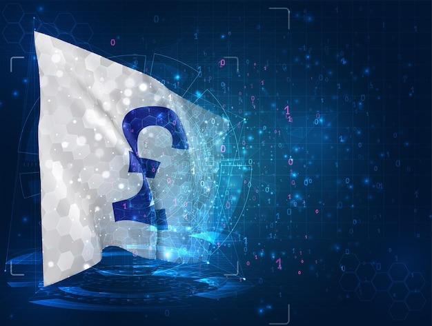 Sterline di valuta su bandiera 3d vettoriale su sfondo blu con interfacce hud
