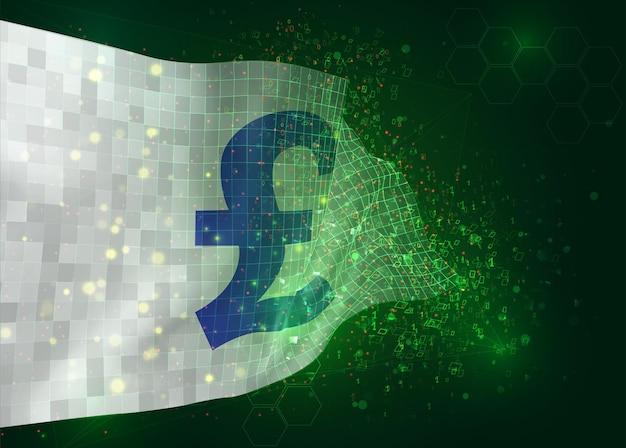 Sterline di valuta su bandiera vettoriale 3d su sfondo verde con poligoni e numeri di dati