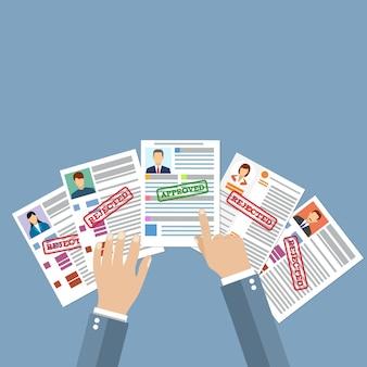 Curriculum vitae candidato di reclutamento posizione lavorativa, tenere le mani profilo cv scegli persone d'affari da assumere. selezione del personale. illustrazione vettoriale in design piatto