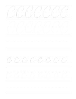 Fogli di lavoro per esercizi di scrittura a mano corsiva per bambini