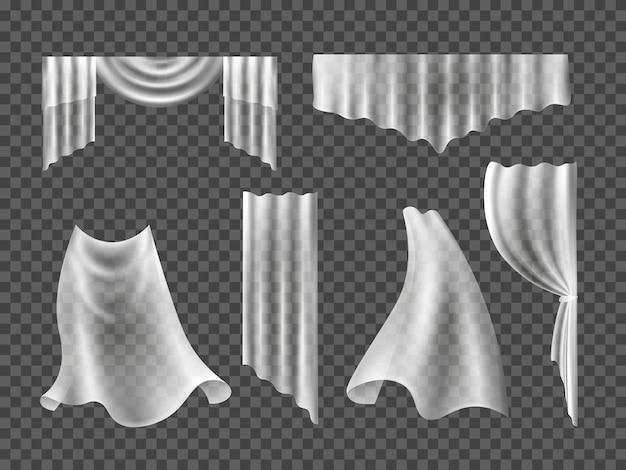 Set di tendaggi per tende per l'illustrazione della finestra