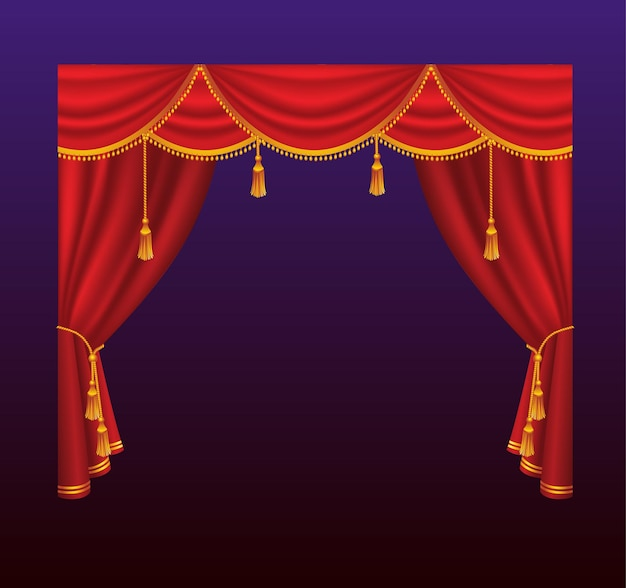 Tende - tende rosse realistiche di vettore. sfondo sfumato. clipart di alta qualità per presentazioni, banner e volantini, raffiguranti illustrazioni di cinema, concerti e premi.
