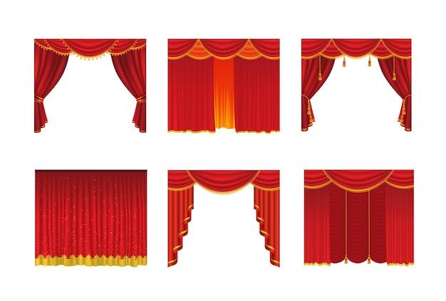 Tende - set vettoriale realistico di tende rosse - si aprono e si chiudono. sfondo bianco. clipart di alta qualità per presentazioni, banner e volantini, raffiguranti illustrazioni di cinema, concerti e premi.