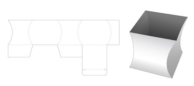 Modello fustellato di scatola di cancelleria quadrata curva