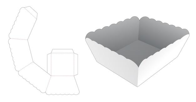Modello fustellato per vassoio con bordo curvo