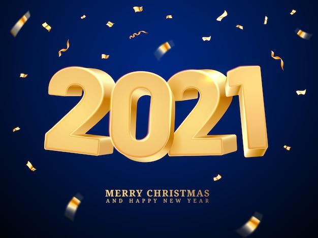 Coriandoli sinuosi che cadono a numeri d'oro. anno nuovo e buon natale, buone vacanze e vigilia di natale