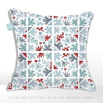 Cuscino festive abstract woods lascia bacche e alberi pattern in blu grigio e rosso