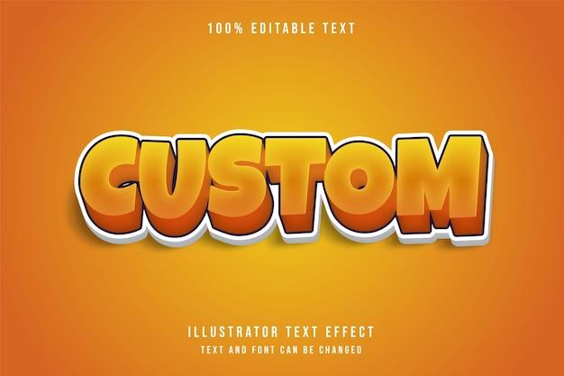 Effetto di testo modificabile 3d personalizzato, gradazione gialla effetto stile gioco arancione