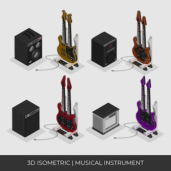 Chitarra isometrica 3d personalizzata con 2 manici e set completo