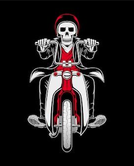 Illustrazione del cranio del pilota di moto classico personalizzato
