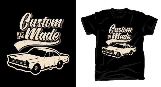 Tipografia su misura con design di t-shirt per auto d'epoca